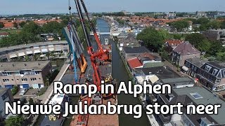 Katastrofa dw�ch d�wig�w p�ywaj�cych w Holandii w trakcie budowy mostu