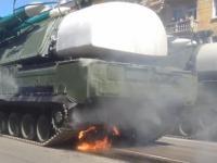 Defilada wojskowa w Rosji i płonący Buk