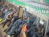 Pasażerowie podnieśli pociąg aby uwolnić człowieka