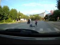 Potrącenie na przejściu i ucieczka motocykllsty