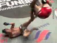 MMA waga piorkowa niesamowity obrot i cios