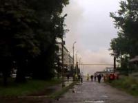 Wysadzanie 60-metrowego komina na terenie FSC Lublin