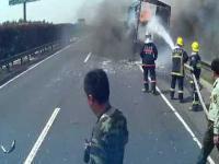 Eksplozja płonącej ciężarówki