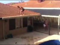 Szalony backflip do basenu