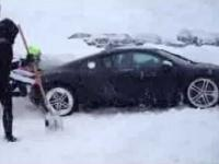 Audi R8 stuck in snow