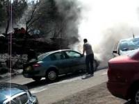 Pożar samochodu na Białym Krzyżu