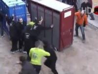 Byk wydostaje się z klatki i atakuje tłum...
