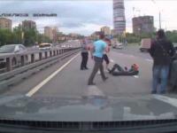 Damatyczne zajechanie drogi motocykliście
