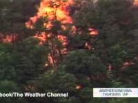 Piorun uderzający w fabrykę Jim Beama powoduje ogniste tornado