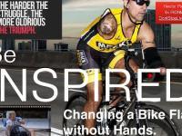 Rowerzysta bez rąk zmienia dętkę