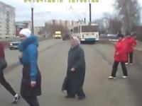 Lucky pedestrians and crazy Russian drivers
