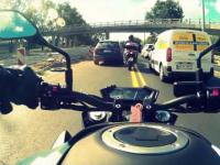 Warsaw by Kawasaki z800, big traffic jam. SJCAM HD