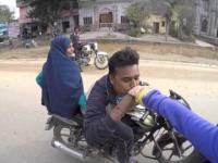 Crazy India guy on motorbike
