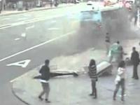 Nietypowy wypadek autobusu