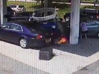 Wypadek i pożar na stacji paliw