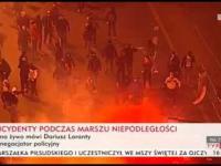Marsz Niepodległości 2014 - bójka zamaskowanych uczestników z policją