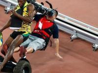 Kamerzysta na kółkach potrącił najszybszego człowieka świata