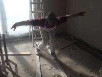 Kamil Stoch na budowie