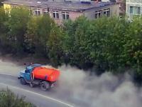 Efektowne zamiatenia ulicy w Rosji