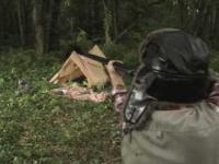 Myśliwy strzela do niedźwiedzia