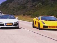 Audi R8 V10 Spyder vs Lamborghini Gallardo vs BMW S1000RR