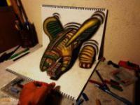 Rysunki 3D robione za pomocą ołówka