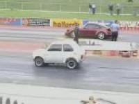 Fiat 126 races VS Porsche 911 Turbo