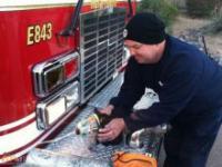 Strażak na ratunek kotu