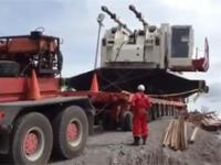 Wypadek podczas przewozu 120 tonowej koparki