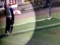 Wpadł na boisko i zaatakował bramkarza