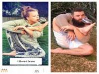 Mężczyzna naśladuje zdjęcia z Tindera