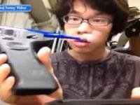 Szczoteczka do zębów z pistoletu automatycznego konstrukcja Japończyka