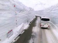 Tunel śnieżny na drodze w Japonii