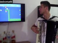 Runda w Super Mario z soundtrackiem zagranym na akordeonie