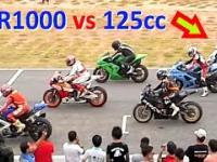 CBR 1000 vs 125cc SCOOTER ! Racing on a track