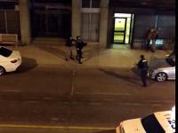 Obywatel szarpie się przestępcą a policjantka ...ucieka z krzykiem