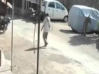 Małpa popchnął mężczyznę w plecy i uciekł