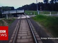 Polski pociąg, 110km/h i ciężarówka na torach