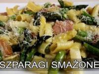 Szparagi smażone z makaronem i boczkiem. MENU Dorotki.