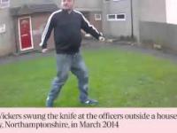 Wariat z dużym nożem atakuje policjantów