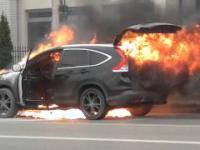 Pożar samochodu ZIELONKI K Warszawy 1