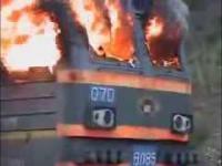Pożar lokomotywy w Rosji