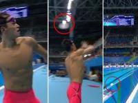 Mistrz olimpijski rzucił kibicom czepek, który wylądował w... basenie