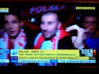 Kibice pozdrawiają TVN po meczu z Danią