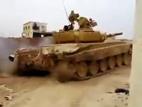 Przelatujący pocisk z wyrzutni ATGM tuż nad czołgiem