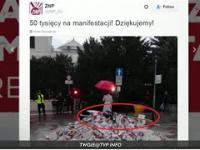 Kompromitacja środowiska ZNP i KOD-u - profanacja Polskiej flagi i śmiecenie