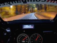 Jazda przy szybkości prawie 210 km/h po leśnym dukcie między drzewami