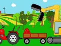 Traktor i Dinozaur Zbieranie owoców na Farmie   BAJKI