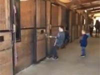 Dzieciack próbuje wyciągnąć konia z boksu