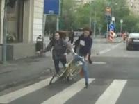 Śmieszne wypadki rowerzystów